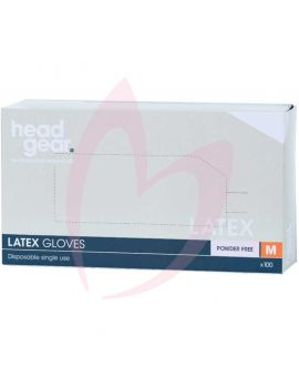 Head Gear Disposable Latex MEDIUM Gloves (Powder Free) 100