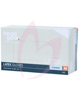 Head Gear Disposable Latex MEDIUM Gloves (Powdered) 100