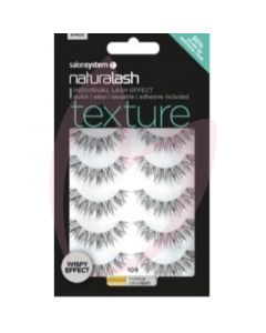 Salon System Naturalash Strip Lashes - 109 Black (Texture) Wispy Effect 5 Pack