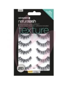 Salon System Naturalash Strip Lashes - 117 Black (Texture) Wispy Effect 5 Pack