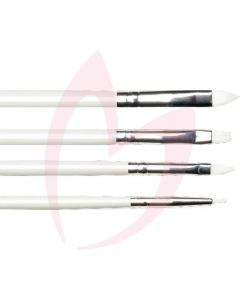 Cuccio x4 Pack Gel Brushes (1 Round, 1 Flat, 1 Large Round, 1 Design)