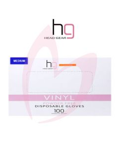 Head Gear Disposable Vinyl MEDIUM Gloves (Powder Free) 100