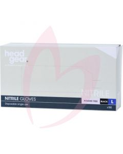 Head Gear Nitrile Gloves (Powder Free) Black Large