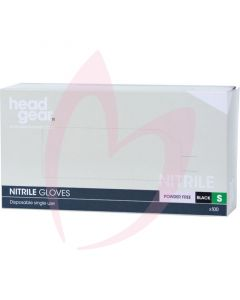 Head Gear Disposable Black Nitrile SMALL Gloves (Powder Free) 100