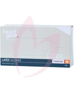 Head Gear Latex Gloves (Powder Free) Medium