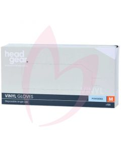 Head Gear Vinyl Gloves (Powdered) Medium
