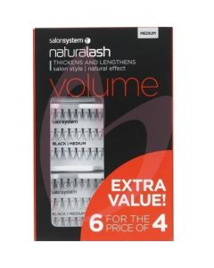 Salon System Naturalash Individual Lashes (Extra Value Pack 6 for 4) - Medium (VOLUME)