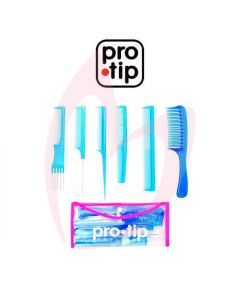 Pro Tip College Kit 6pc Comb Set - Blue