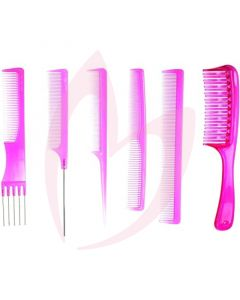 Pro Tip College Kit 6pc Comb Set - Pink