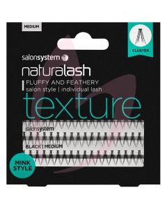 Salon System Naturalash Individual Lashes - Medium Black (TEXTURE) Mink Style