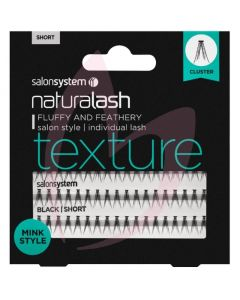 Salon System Naturalash Individual Lashes - Short Black (TEXTURE) Mink Style