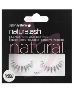 Salon System Naturalash Strip Lashes - 090 Black (NATURAL) Clear Band
