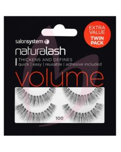 Salon System Naturalash Strip Lashes - 100 Black (VOLUME) Twin Pack