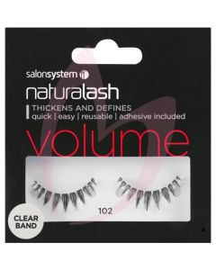 Salon System Naturalash Strip Lashes - 102 Black (VOLUME) Clear Band