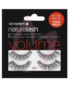 Salon System Naturalash Strip Lashes - 107 Black (VOLUME) Twin Pack