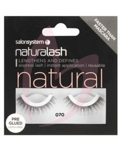 Salon System Naturalash Strip Lashes - Pre-Glued 070 Black (NATURAL)