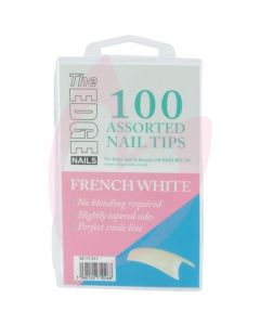 The Edge Nails FRENCH WHITE Nail Tips - (100 Assorted Pack)
