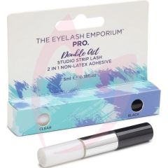 The Eyelash Emporium - Double Act Latex Free 2 In 1 Black And Clear Strip Lash Glue 5ml
