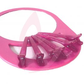 Cricket Back Mirror Pink - With Pink Clips
