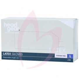 Head Gear Disposable Latex LARGE Gloves (Powder Free) 100