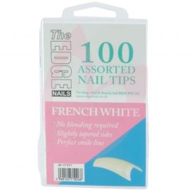 The Edge FRENCH WHITE Nail Tips - (100 Assorted Pack)