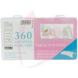 The Edge FRENCH WHITE Nail Tips - (360 Assorted Pack)